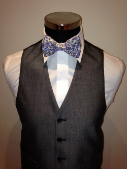 Lavender Floral Liberty Print Bow Tie £34.95 each to buy. Matching Hankie available £9.95 each to buy. Waistcoat shown - Silver Grey Mohair