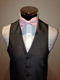 Pink and Ivory Floral Liberty Print Bow Tie £34.95 to buy. Matching Hankie available £9.95 each Waistcoat shown - Silver Grey Mohair