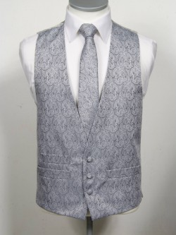 Grey Patterned Waistcoat 3 button, low cut style with a ticket pocket. Waistcoat - £98.00 to buy Matching Tie - £39.95 to buy