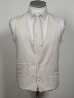 Ivory Patterned Waistcoat 3 button, low cut style with a ticket pocket. Waistcoat - £98.00 to buy Matching Tie - £39.95 to buy
