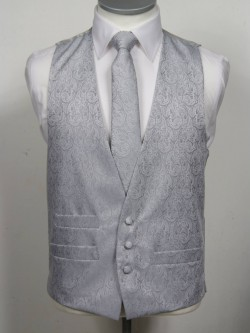 Silver Patterned Waistcoat 3 button, low cut style with a ticket pocket. Waistcoat - £98.00 to buy Matching Tie - £39.95 to buy