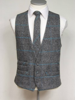 Grey and Turquoise genuine Harris Tweed Classic Wool Waistcoat 3 button, low cut style with a ticket pocket. Waistcoat - £98.00 to buy Matching Tie - £39.95 to buy
