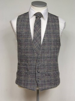 Grey and Burgundy genuine Harris Tweed Classic Wool Waistcoat 3 button, low cut style with a ticket pocket. Waistcoat - £98.00 to buy Matching Tie - £39.95 to buy