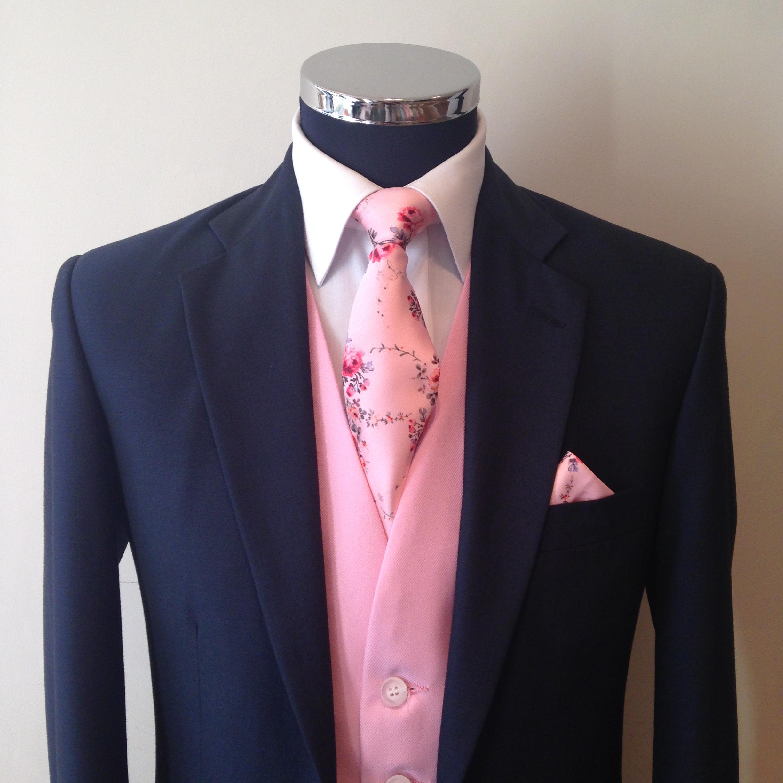 Pink Tie With Tux: Tea Rose Pink Vintage Tie & Hankie