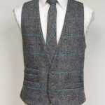 Grey and Turquoise Harris Tweed